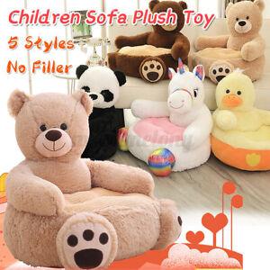 Animal Plush Seat Panda Bear Kids Chair Cover Comfy Child Toy Playroom Furniture