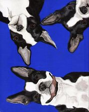 BOSTON TERRIER 3 Dogs Dog Blue 8x10 Signed Art PRINT of Painting by VERN