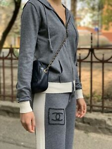 Stylish Authentic Chanel CC Logo Gray Wool Tracksuit Hoodie Sz 40 Pants Sz 38