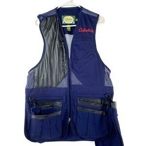 Cabelas Mens Size Medium Sleeveless USA Shooting Team Vest Bag Cloth Navy Blue
