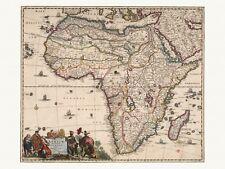 Old Antique Decorative Map of Africa de Wit ca. 1682