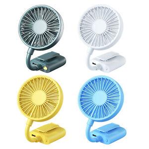 Durable Mini Clip Fan USB Quiet Desktop Fan 800mAh 3 Speeds Buggies Cooler