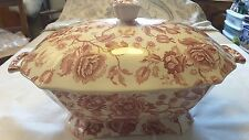A Johnson Bros Red/Pink Chippendale Rectangular Tureen