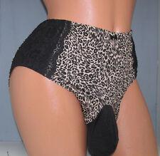 Olga Plus Size Black/Tan SISSY POUCH PANTIES Crossdress for Men Sz 32-48 2X