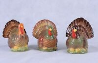 Thanksgiving Fall Harvest Turkey Figurines Set of 3 New Made of Dolomite