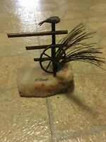 DeMott Signed Fence With Bird and Wagon Wheel Vintage Sculpture