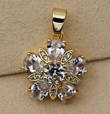 18K Yellow Gold Filled- Noble Flower Waterdrop Topaz Zircon Wedding Lady Pendant