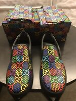 New Authentic Gucci Psychedelique GG Logo Slip On Sneaker Shoes Size US 12