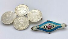 Silver Antique Brooches – one Enamel example