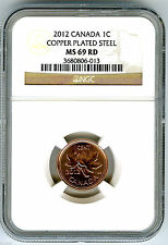 2012 CANADA CENT NGC MS69 RD MAGNETIC STEEL HIGH GRADE LAST YEAR OF ISSUE RARE!!
