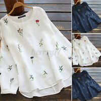 ZANZEA Women Embroidered Top Casual Loose Shirt Crew Neck Pullover Floral Blouse