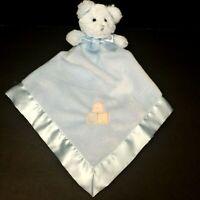 Bearington Collection Blue ABC Bear Security Blanket Rattle Plush Lovey Satin