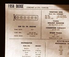 1958 Dodge SIX Series Taxi Cab Models 230 CI L6 Tune Up Chart