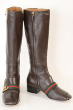 Gucci brown 8 38 leather square toe GG logo strap knee high boot shoe $1850