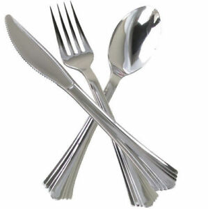 Disposable Silver Plastic Party Cutlery Metal Look Metallic Knives Forks Spoons