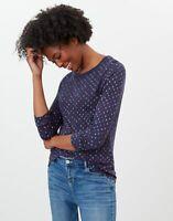 Joules Womens Selma Print Long Sleeve Jersey Top - Navy Hearts