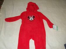 NEW NWT DISNEY BABY 1Pc Minnie Mouse Red Fleece Snowsuit Pram Sleeper Girls 6-9M