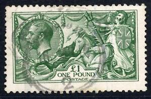 GB 1913 KGV £1 Green Seahorse, Good Used SG 403 Cat £1400