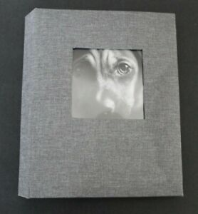 """Photo Album with Frame Front Gray holds two 4"""" x 6"""" photos Per Page - Threshold"""
