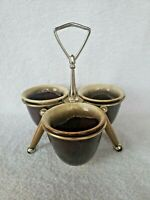 Vintage Mid Century Modern Chrome Brass & Wood Condiment Caddy Holder Server