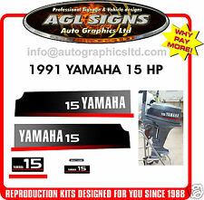 1991 YAMAHA 15 HP OUTBOARD DECAL SET, REPRODUCTION