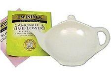 3 Tea Bag tidy Rest Spoon holder White Ceramic Kitchen Home Tea coffee Cooking