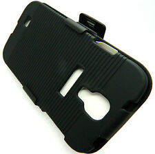 SAMSUNG GALAXY SIV S4 i9500 BLACK HARD CASE COVER+BELT CLIP FACE IN/OUT HOLSTER