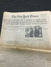 1964 Presidential Election - Lyndon Johnson -Goldwater- New York Times Newspaper