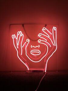 "17""x17""Girl Hands Face Neon Sign Light Handmade Gift Man Cave Nightlight Artwork"
