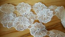 1 yard White Embroidered Organza Voile Lace Venise FLOWER Trimming Applique