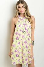 NWT Women's Medium Yellow Purple Floral Easter Dress Spring Summer BOUTIQUE