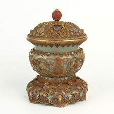Antique Chinese Collection Gilt Silver Hetian Jade Enameling Incense Burner