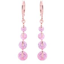 18K Gold Filled GF Made With Swarovski Crystal Elements Pink Hoop Drop Earrings