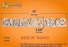 "Hand Carved Solid Wood Horizont Decor for top of doors, windows,. Over 32"" long"