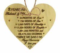 2nd Wedding Anniversary Gift Wooden Heart Cotton Second Wedding Anniversary Gift