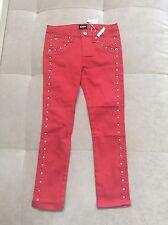 New Hudson Girls Slim Red Silver Studded Legging Jeans Pants