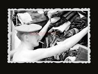 1950s ROYAL BRITISH ARMY STORE CLOTHES SMOKING HAT Vintage Hong Kong Photo #957
