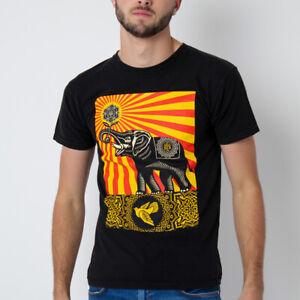 OBEY Mandala Dove Scroll Design Big Graphic Print Elephant Skater T-Shirt