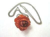 Genuine Bakelite Carved Rose Pendant Necklace Vintage