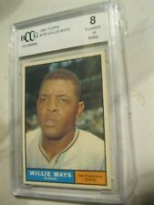 1961 topps hof great willie mays; graded an 8 by bccg!!!