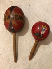 """VINTAGE (2) WOODEN MARACAS - hand painted And carved 10"""" & 7-1/2"""""""