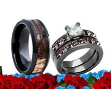 His & Her Engagement Wedding Ring Set Ceramic Camo Pink Cz Stainless Steel Band
