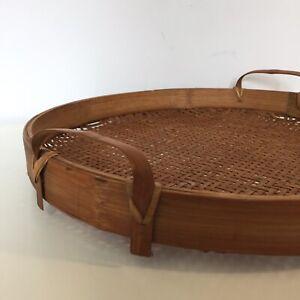 Vintage Decorative Woven Rattan Sieve Tray Vintage Bamboo Basket Weave Boho