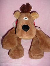 """14""""-Vtg-Big Hallmark Christmas Reindeer Rodney Brown Plush Stuffed Animal Toy"""
