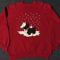 Vtg 80s Snow Dogs Sweatshirt XL USA Animals Christmas Pets Cats Vaporwave 90s