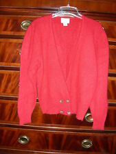 Lord & Taylor Red V Neck Dbl Breasted Cardigan Sweater Angora / Lambswool Sz Sm