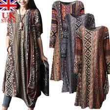 UK STOCK Plus Womens BOHO Long Sleeve Floral Maxi Shirt Dress Vintage Kaftan
