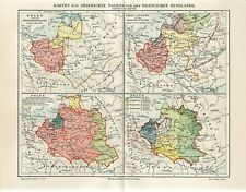 1895 HISTORY OF WEST RUSSIA POLAND LITHUANIA UKRAINE BELARUS Antique Map