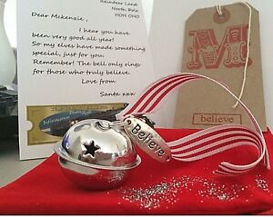 Personalised Polar Christmas Believe 50mm Silver Jingle Bell stocking filler TAG