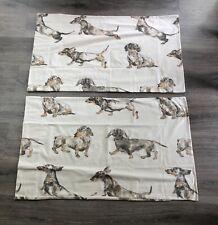 Rare CUDDLEDOWN Wiener DACHSHUND 🐶 Dog Novelty Print 2 QUEEN Pillowcases